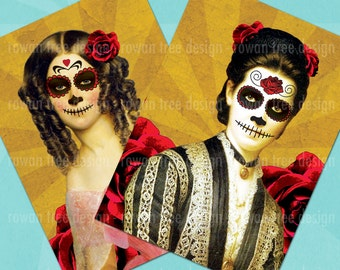 VICTORIAN DAY Of The DEAD Digital Collage Sheet 2.5x3.5in Skulls Roses - no. 0127