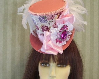 "Kentucky Derby Mini Top Hat Fascinator ""Tiny Roses"" Alice in Wonderland Mad Hatter Tea Party Hat"