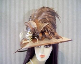 """Kentucky Derby Hat, Preakness, """"Carmel Cream"""" Belmont, Wide brim Hat, Ascot Downton Abbey, Victorian, Edwardian"""