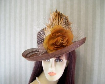 "Brown Kentucky Derby Hat ""Feathers""Tea party, Ascot, Preakness, Easter hat By Ms.Purdy"