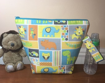 Handmade Baby Diaper Bag, Multi Use Insulated Baby Bag, Wet Bag, Baby Bottle Bag, Boy Small Diaper Bag, Baby Gift Idea,