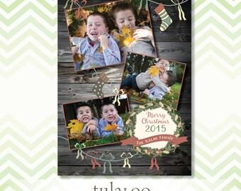 Rustic Barn Wood and Wreath - Holiday Photo Card - PRINTABLE