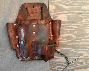Vintage Thick Brown Leather Miller's Falls Number 9875 Tool Pouch for Belt Made in U.S.A.