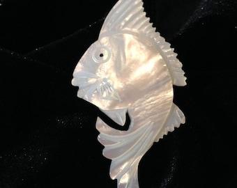 Vintage MOP Mother of Pearl Fish Brooch