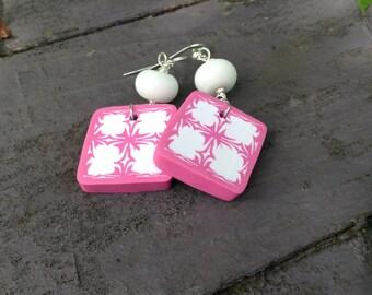 BOHO pink/white original designer polymer earrings..OOAK perfect gift..