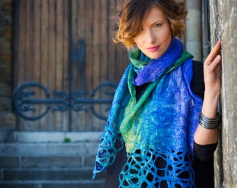 Felted scarf, scarf, hand painted, dyed,silk knitted, women, gift, art, leaves, designer, kate ramsey, lace, blue, green, violet
