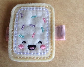 Toaster Tart With White Frosting & Sprinkles Hair Clip, Girl's Hair Clip, Toddler's Hair Clip, Felt Toaster Tart Hair Clip (Item 16-073)