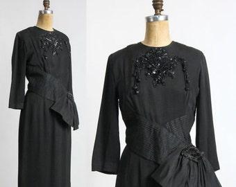 ON SALE 1940s Beaded Dress . LBD