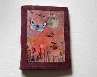 Peaceful Moments 07 journal -  waxed canvas journal