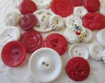 Vintage Buttons - Cottage chic mix of red, and white, lot of 29 old and sweet(sept 15b)