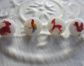 Vintage Buttons -  beautiful lot of 4 assorted small animal hand painted, Czechoslovakia very old, (mar 194)