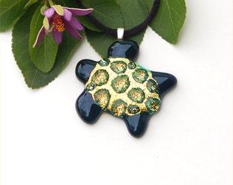 Fused dichroic glass sea turtle pendant, yellow gold sparkle