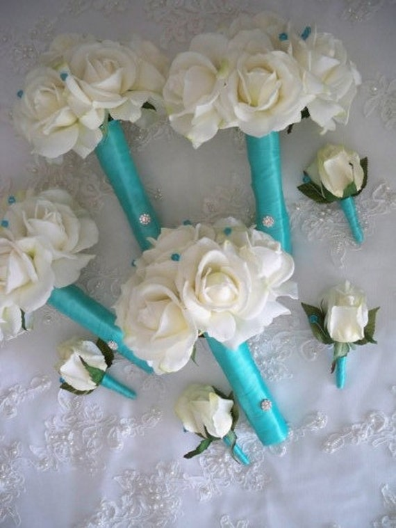 Cream/white Realtouch Roses wrapped in Robin Egg Blue Blue Bridal and Bridesmaids Bouquet Set
