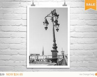 Bordeaux France, France Photography, Garonne River, Vertical Art, Pont de Pierre, Black and White, Bridges Art, Murray Bolesta