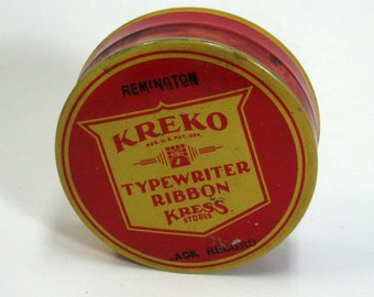 Vintage Round Kreko Typewriter Ribbon Tin Red and Harvest Gold