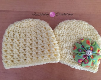 Newborn twin hats... Yellow beanies.. Photography prop.. Ready to ship