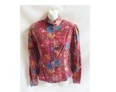 Vintage 70s Blouse size 10 M Laura Ashley Shirt Boho Hippie floral Fall 80s