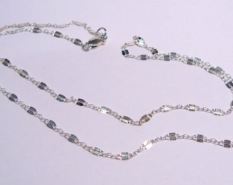 925 Sterling Silver Bar & Link Chain 18""