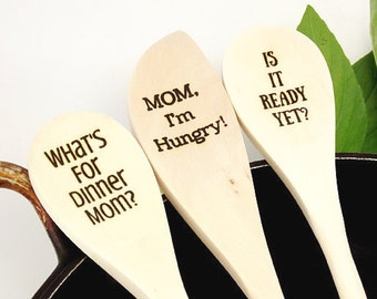 Engraved Wood Spoons Mom's Cooking Spoons Cooking Utensil Kitchen Tools Message Spoons What's For Dinner Mom Foodie Mother Gift Custom Spoon