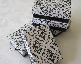 Gift Boxes, Favor Boxes, Damask Boxes, Black Damask, Damask Print, Jewelry Boxes, Small Gift Boxes, Cotton Filled 3x2.25x1 Pack 10