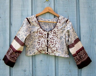Medium Ethnic Embroidered Lace Cropped Cotton Top// Upcycled Festival// emmevielle