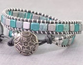 Teal Wrap Bracelet Gray Leather Wrap Bohemian Jewelry Tila Bead Boho Bracelet Light Blue Double Wrap Bracelet Spring Jewelry Boho Chic