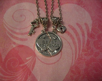 Two Best Friends Lock and Key Jewelry Necklace Gift for Friends or Sisters