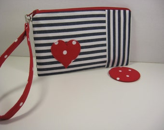 Wristlet, Cosmetic Bag, Bridesmaid Gift, Pocket Mirror, Valentine