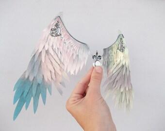 1/6 OOAK Angel Wings for dolls  - Crystal Sky Blue