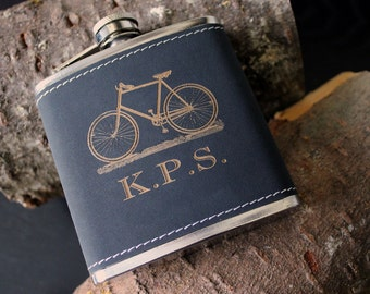 Flask | Customizable Black BIKE design, multiple quantities for groomsman gift