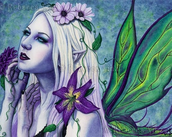 Seelie ORIGINAL PAINTING Fairy Art Fantasy Light Spring Flowers Purple Green Portrait Wings Gothic Watercolor