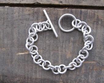 Silver link toggle bracelet, boyfriend bracelet by teresamatheson