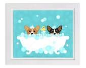 118D Dog Print - Two Corgis in Bubble Bath Wall Art - Welsh Corgi Print - Corgi Wall Art - Bath Prints - Bathroom Wall Art - Dog Lover Gift