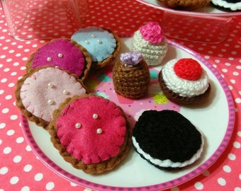 Crochet dessert sampler  playfood play food cookies pastries cheesecake