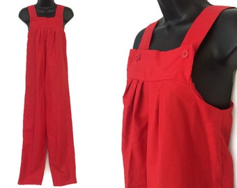 80s Red Jumpsuit Overalls S M