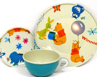 60's Winnie the Pooh, Storybook Tin Toy Tea setting with 3 pieces by J Chein.
