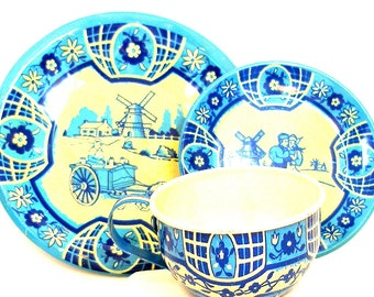 40's Tin Toy Tea Setting, Blue Delph, Cup & plates, 3 piece set made in USA by Wolverine