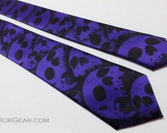 Mens Skinny 2.5 inch wide microfiber Custom Skull Necktie LIMITED Design