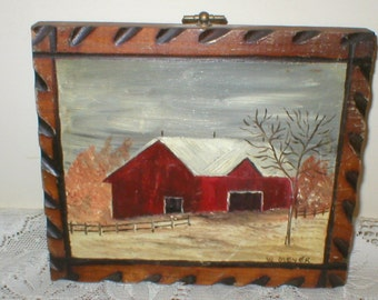 Red Barn Painting Snow Picket Fence Landscape 7X6 Vintage Antique Rustic Primitive Folk Art Pyrography Frame