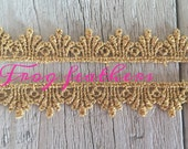 Metallic GOLD VENISE LACE Trim 1/2 inch wide-2 yards