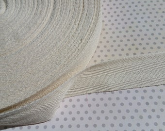 "Cotton Twill Trim Tape Cream - Sewing Shipping Packaging - 1"" Wide - 20 Yards"