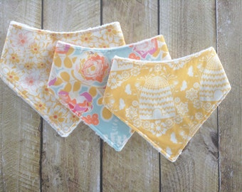 Bandana Bib - Baby - Baby Bandana Bib Set - Sweet As honey Bib Set - Drooling - Bib Gift Set