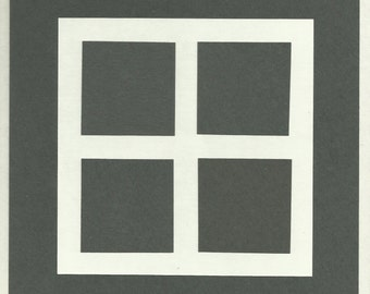 Geometric Abstraction Collage with Squares Black and White