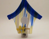 Fused Glass Blue Yellow Atlantis Bird House LED Nightlight