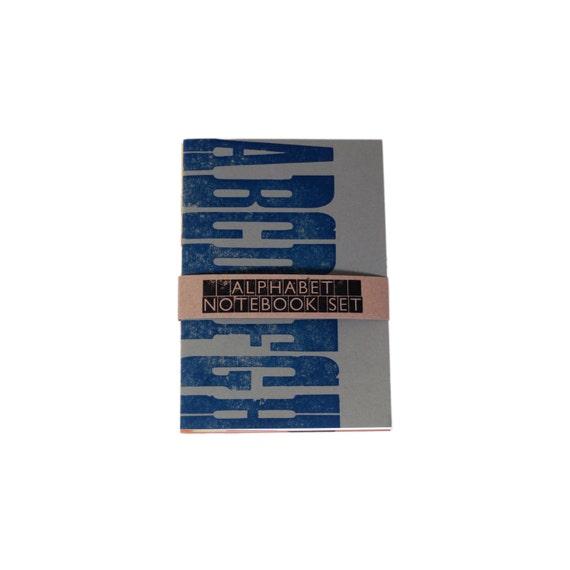 Letterpress Alphabet A6 Notebook Pack of 3