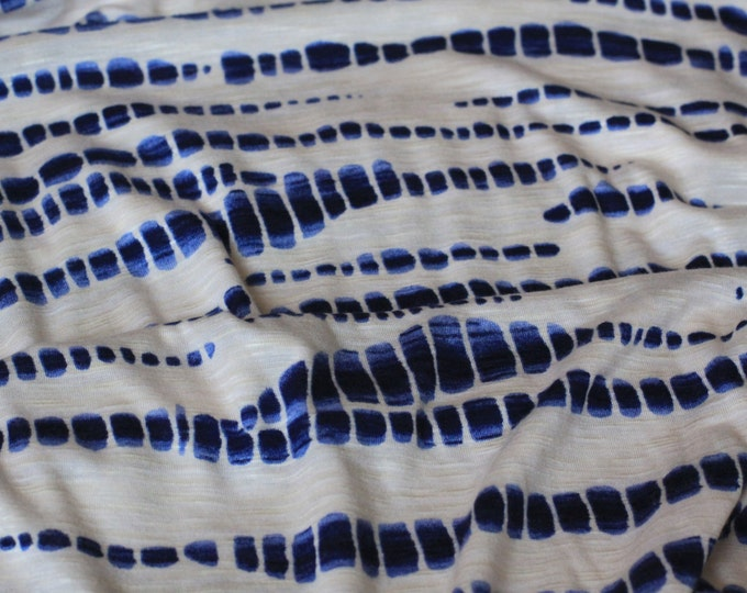 Stubbed Rope Stripe Design in Off-white/Denim Blue  - Rayon Lycra Blend Knit Fabric