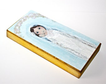 Mother with Newborn -  Giclee print mounted on Wood (3 x 6 inches) Folk Art  by FLOR LARIOS