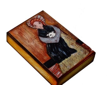Saint Bernadette with Sheep - ACEO Giclee print mounted on Wood (2.5 x 3.5 inches) Folk Art  by FLOR LARIOS
