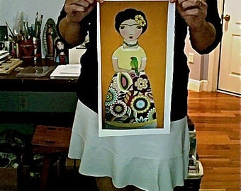 Frida with Parrot -  Print on Fabric from Original Painting (7 x 14 inches) by FLOR LARIOS
