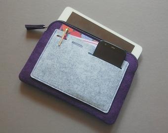 iPad mini Case, Kindle Case. Tablet Cover, felt zipper bag.